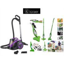 Klaiser - Pack Aspirateur Sans Sac Confort Xl Ultra Puissant - Ultra confort, équipé d'une poignée ergonomique Et Balai vapeur Mop Vert 5 En 1 Multifonctions