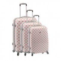 Madison - Madisson Bagage Lot de 3 valises - 4 Roues - Polycarbonate - Pois - Blanc