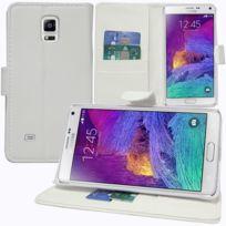 Vcomp - Housse Coque Etui portefeuille Support Video Livre rabat cuir Pu pour Samsung Galaxy Note 4 Sm-n910F/ Note 4 Duos Dual Sim, N9100/ Note 4 CDMA, / N910C N910W8 N910V N910A N910T N910M - Blanc