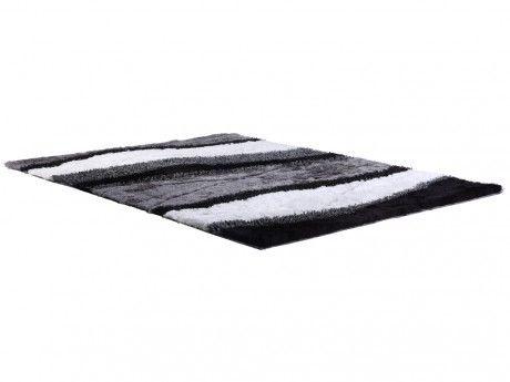 Marque generique tapis shaggy ecume polyester tuft main noir et blanc 160 230cm noir - Tapis shaggy noir et blanc ...