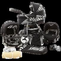 LUX4KIDS - Daytona Poussette Trio 3en1 Nacelle Siège auto Poussette Canne Roues pivotantes Accessoires 08 noir & zèbre