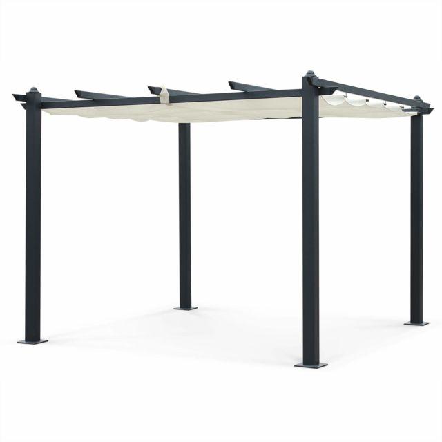 ALICE'S GARDEN Tente de jardin, pergola aluminium 3x3m Condate écru, toile rétractable, toile coulissante, tonnelle abri de terrasse
