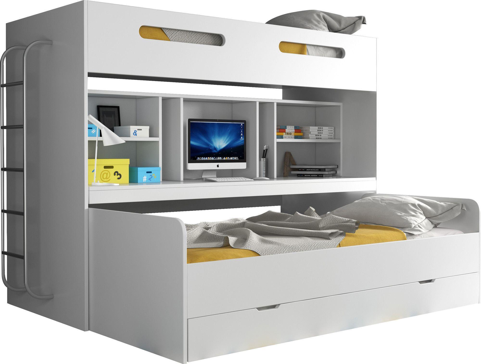Lit combiné superposé avec 3 couchages 90x200 avec espace de bureau