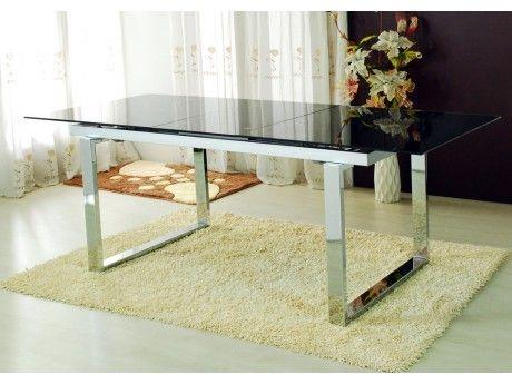 Marque Generique Table extensible Cagliari - 6 à 8 couverts - Verre trempé & chrome