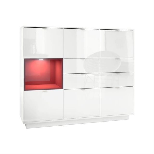 Mpc Buffet design laqu? blanc avec insertion Bordeaux