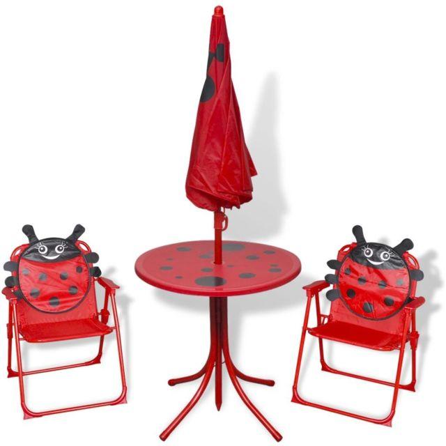 Icaverne - Ensembles de meubles d'extérieur reference Jeu de bistro avec parasol pour enfants Rouge