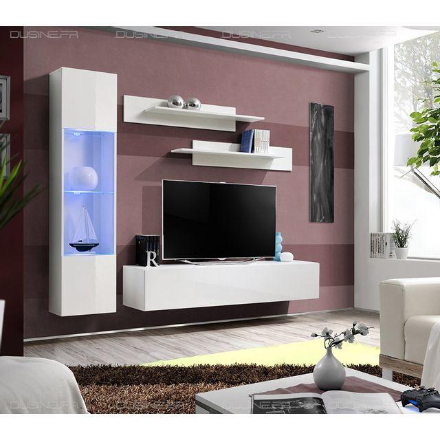magasin en ligne ce657 03884 Meuble Neuf Tv Laqué Design Neo suspendu Led Blanc/BLANC