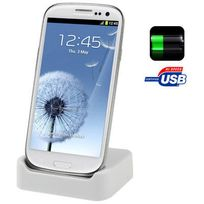 Yonis - Dock de synchronisation Samsung Galaxy S3 I9300 chargeur Blanc