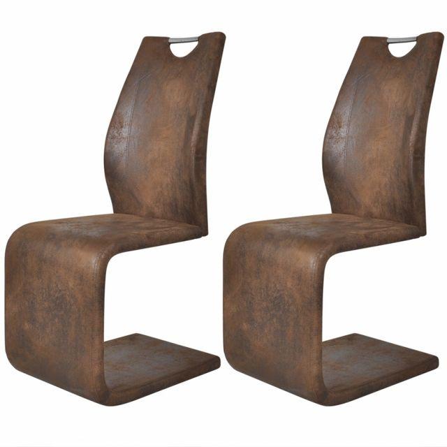 Casasmart Lot de 2 chaises en simili cuir marron Tiga