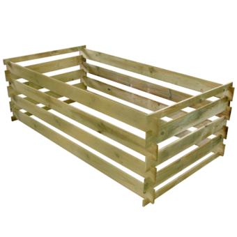 Rocambolesk - Superbe Bac à compost rectangulaire en lattes en bois 0,77 m³ Neuf