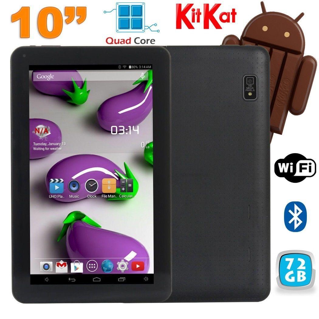 Tablette 10 pouces Quad Core Android 4.4 WiFi Bluetooth 72Go Noir