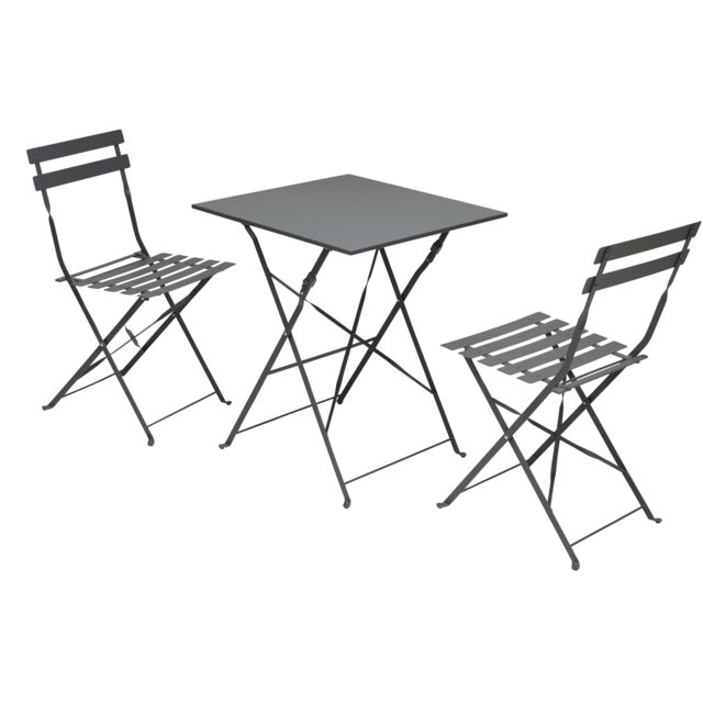 2 Pliantes Chaises Ensemble Et Carrefour Carrée Bistrot Table UpGqSzMV