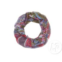 Coolminiprix - Foulard tube motif cachemire kaki rouge violet - Qualité 0257bf8b7ed