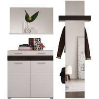 Comforium - Ensemble meuble vestaire coloris blanc et chêne foncé