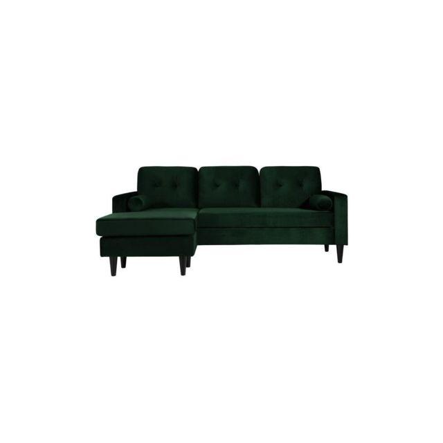 Sans Marque Ibra Velvet Canape Dangle Reversible Fixe 3/4 Places - Velours Vert - Classique - L 205 X P 82,5 - 130 Cm