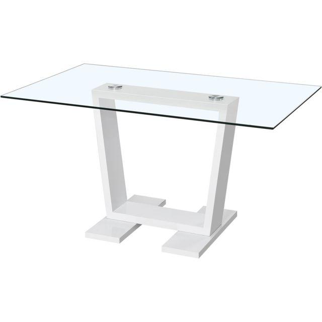HABITAT ET JARDIN Table repas Bina - 150 x 90 x 75 cm - Blanc