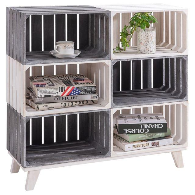IDIMEX Etagère KALENA meuble de rangement avec 6 compartiments ouverts cagettes en bois de paulownia gris et blanc style rustiq
