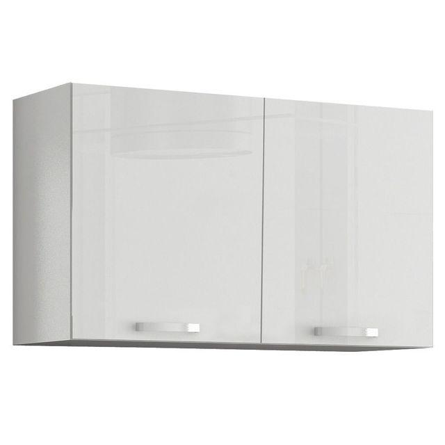 Comforium Meuble de cuisine design 100 cm avec 2 portes coloris blanc mat et blanc laqué