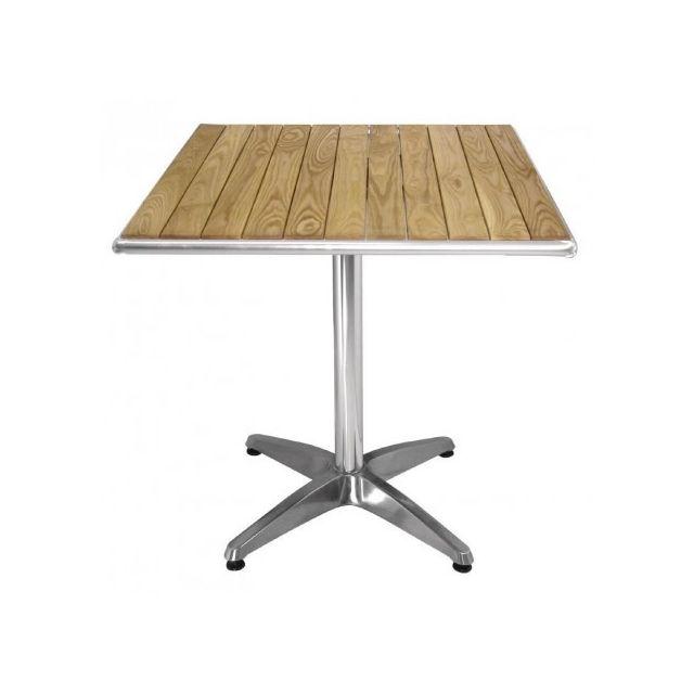 Materiel Chr Pro Table carrée Aluminium et frêne 700 mm - Bolero - Bois clair