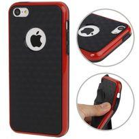 Techexpert - Coque en tpu + contour plastique pour iphone 5 5S petits motifs cubes bicolore rouge / noir