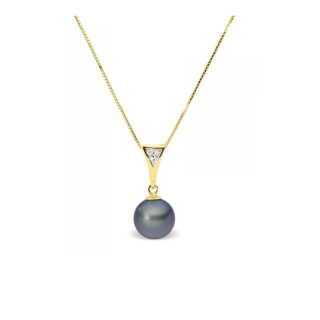 440d27410cf Blue Pearls - Collier Pendentif Perle de Culture d eau douce Noire ...