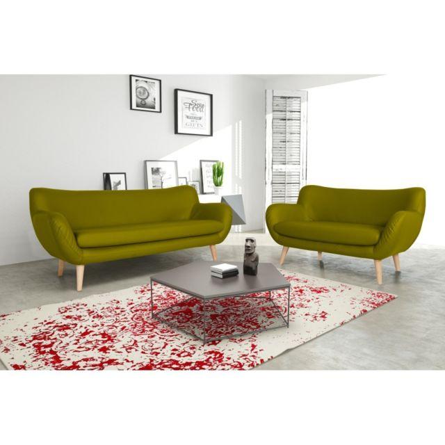 Rocambolesk Canapé Adele 3+2 Pu soft 13 apple avec pieds naturels sofa divan