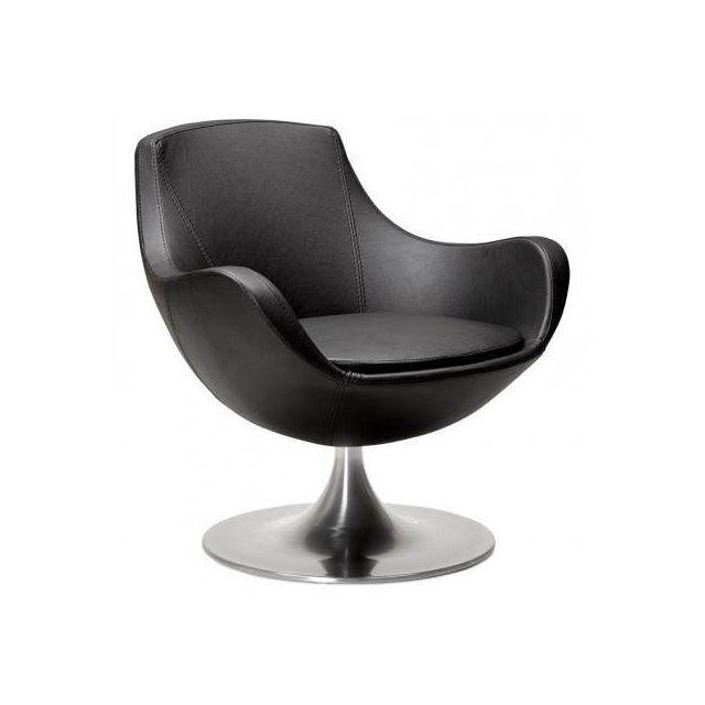 TECHNEB Fauteuil design rotatif à 360° ROMANE noir