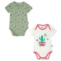 371183ae22581 Petit Beguin - Lot de 2 bodies manches courtes bébé garçon Mister Cactus -  Taille -
