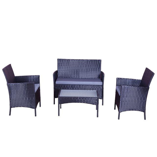 Design et Prix - Magnifique Salon de jardin en résine tressée Sirius Noir / gris : Ensemble De Jardin En Resine Tressee Noir 4 Places Fauteuil + Canape + Table