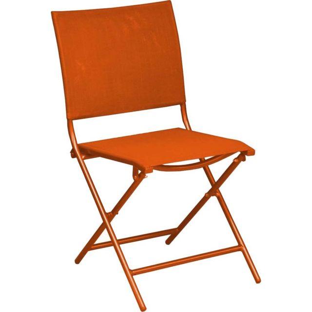 PROLOISIRS Chaise pliante en acier et toile Globe Lot de 6