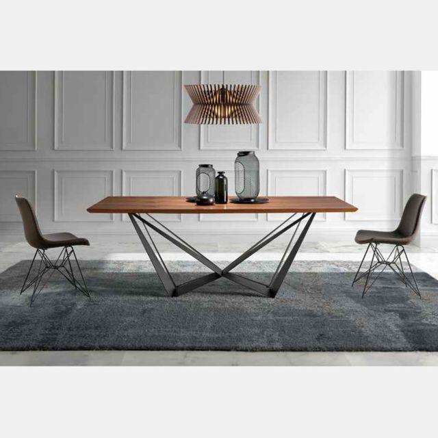 Nouvomeuble Table à manger en bois et métal contemporaine Atlas