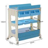HOMCOM - Table à langer multi rangements avec baignoire motif marinière et oursons bleu blanc norme EN12221 neuf 03BU