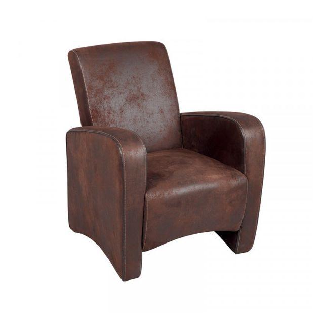 Dansmamaison Fauteuil Club Tissu marron - Gink - L 72 x l 68,5 x H 87 cm