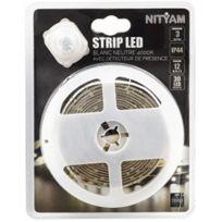 NITYAM - Ruban LED étanche 3 mètres avec détecteur de mouvements Couleur Blanc Strip LED IP44