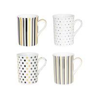Table Passion - Mugs en porcelaine 30cl motifs pois et rayures - Coffret de 4 pièces Inka