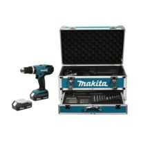 Makita - Perceuse Visseuse à percussion 18V 1,3Ah + Kit d'accessoires HP457DWEX4