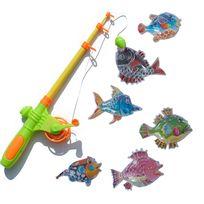 Touslescadeaux - Jeu de Pêche à la ligne Magnétique - 6 Poissons Inclus - Jeu Enfant