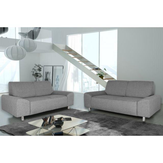 Rocambolesk Canapé Quick 3+2 savana 21 gris +pieds chrom sofa divan