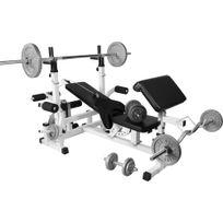 Gorilla Sports - Banc de musculation universel Gs005 + Set haltères disques en fonte et Barres 105,5KG