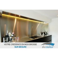 Alucouleur - Credence Inox Brosse 304 L - Taille : 55cm x 150 cm - Alimentaire ep 1 mm