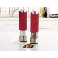 Bestron - Aps526R Lot de 2 moulins poivre et sel ? Finesse réglable ? 19 cm de haut - Rouge