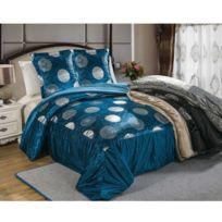 Best Interior - Ensemble couvre lit et 2 taies d'oreiller Venus - bleu - Dimensions : 220x240x240