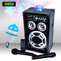 Mydj - Enceinte 300W Dôme Magic + Micro Vhf/Filaire Usb/BT/SD + Ampoule d'ambiance Rvb