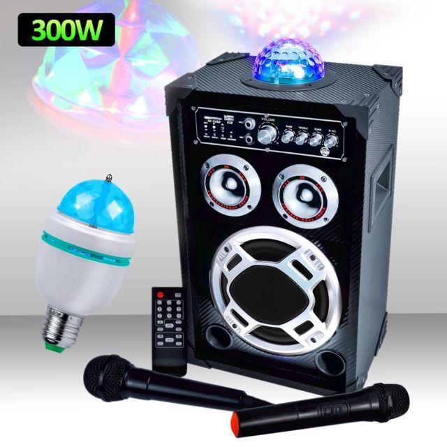 Mydj Enceinte 300W Dôme Magic + Micro Vhf/Filaire Usb/BT/SD + Ampoule d'ambiance Rvb