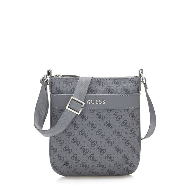 Guess Sacoche Homme Uptown Logo Gris pas cher Achat