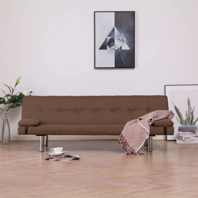 Moderne Meubles gamme Bangkok Canapé-lit avec deux oreillers Marron Polyester