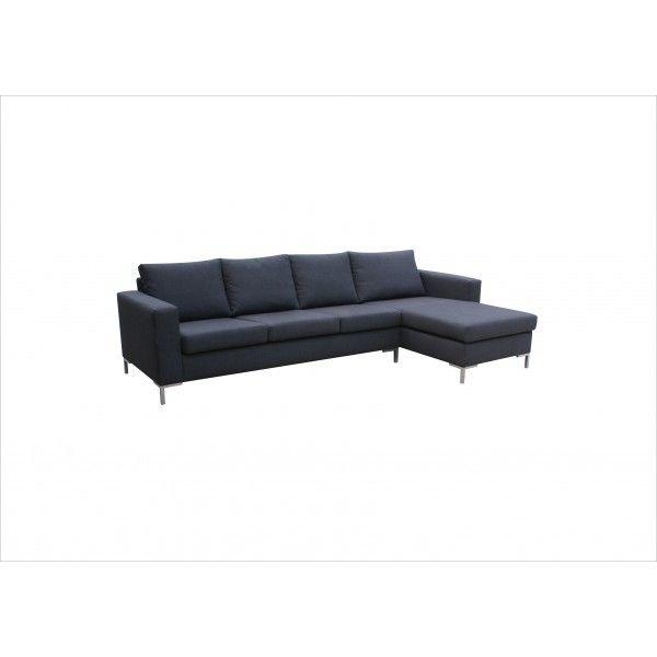 MEUBLESLINE Grand Canapé d'angle 5 places SUNY tissu gris