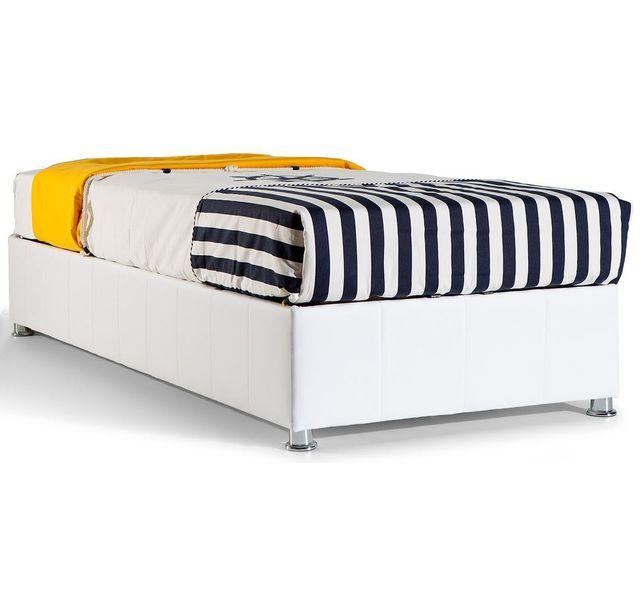 comforium - lit coffre 90x200 pvc blanc coloris sans tête de lit c