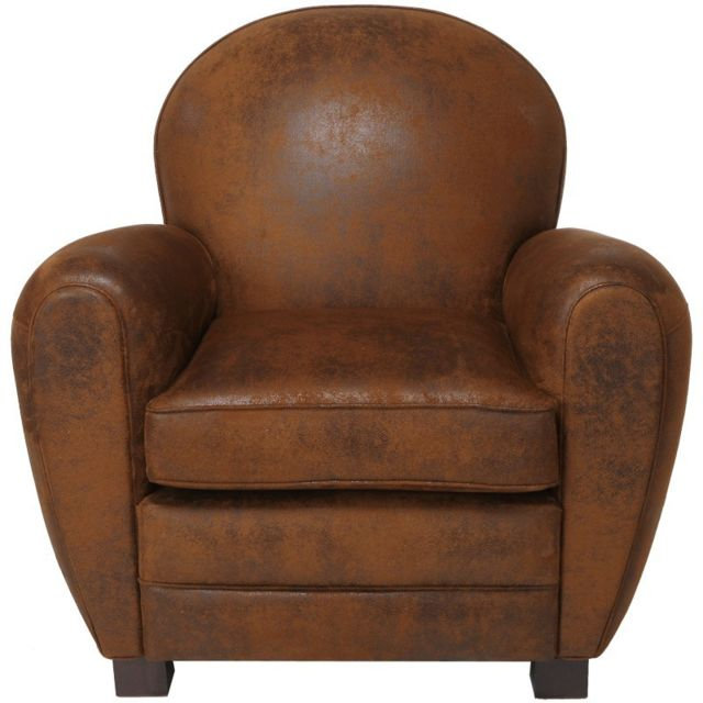 tousmesmeubles fauteuil club microfibre marron enfield. Black Bedroom Furniture Sets. Home Design Ideas