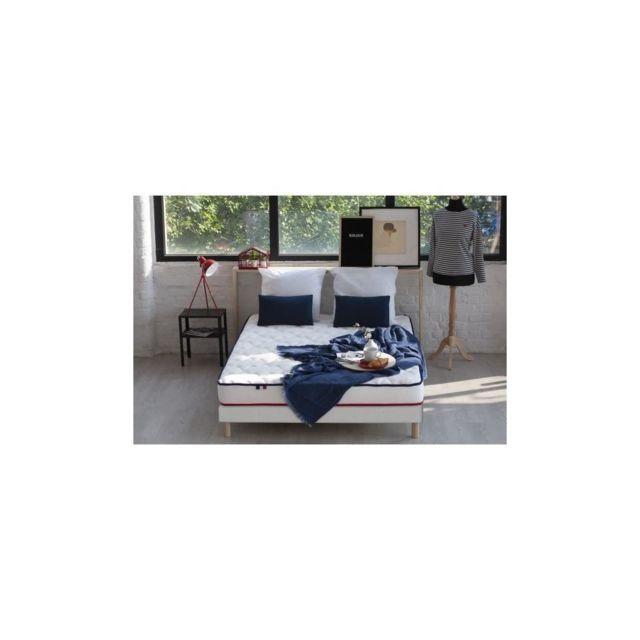 Confort Design Ensemble Frenchy Matelas + Sommier 160x200 Cm - Memoire De Forme - 100% Francais - 2 Oreillers Inclus